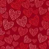 Seamless red pattern with hearts Royalty Free Stock Images