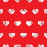Seamless red pattern with hearts. Vector vector illustration