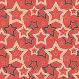 Seamless red pattern with stars Royalty Free Stock Images