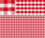 Seamless red picnic tablecloth checked pattern and result samples Royalty Free Stock Photography