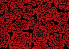 Seamless red rose background. Seamless background with colored roses. Vector illustration Stock Photography