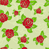 Seamless red rose buds pattern Stock Photography