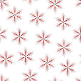 Seamless of red six-pointed star with thin twigs. Fluffy seamless  for your design Stock Photos