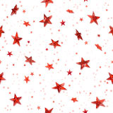 Seamless red stars. Repeatable hovering, red stars for a christmas background with shiny shadows behind the crystal stars, isolated on white Stock Photography