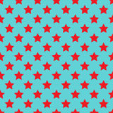 Seamless red stars on blue. Background Stock Photo
