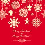 Seamless red vintage christmas card Stock Image