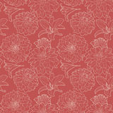 Seamless red vintage floral pattern with lily and aster Royalty Free Stock Photography