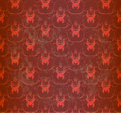 Seamless red wallpaper with floral ornament Stock Photo