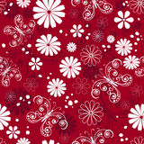Seamless red-white floral pattern Royalty Free Stock Image