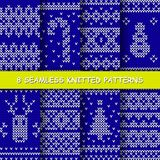 Seamless red and white knitted background. Set with seamless winter patterns. Blue and white knitted christmas background in scandinavian style. Vector vector illustration