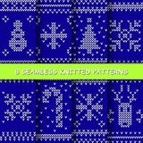 Seamless red and white knitted background. Set with seamless winter patterns. Blue and white knitted christmas background in scandinavian style. Vector stock illustration
