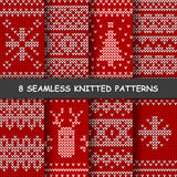 Seamless red and white knitted background. Set with seamless winter patterns. Red and white knitted background in scandinavian style Royalty Free Illustration