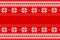 Seamless red and white knitted background Stock Images