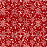 Seamless red winter Wallpaper with Snowflakes Stock Photo