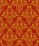 Seamless red and yellow vintage damask wallpaper pattern. Stock Images