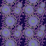 Seamless regular abstract round blossoms purple pale green. Abstract geometric seamless floral background. Regular round blossoms in purple shades with pale Stock Photo