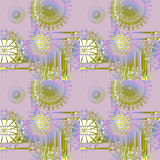 Seamless regular round ornaments white green purple Stock Images