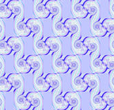 Seamless regular sprials pattern purple beige blue diagonally. Abstract geometric seamless background. Regular spirals pattern in purple shades with beige and Royalty Free Stock Photo