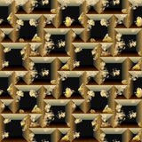 Seamless relief 3d mosaic pattern of scratched black and gold cubes and pyramidal shapes. Gold and black weathered seamless background with grained scratched Stock Images