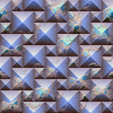 Seamless relief 3d mosaic pattern of scratched blue and orange pyramidal blocks Stock Images