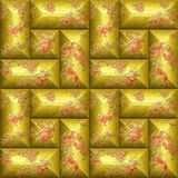 Seamless relief 3d mosaic pattern of scratched gold and red beveled rectangles. Weathered wall with brushed gold and red peeling blocks. 3d rendering Royalty Free Stock Photography