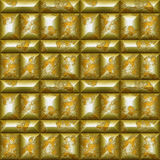 Seamless relief 3d mosaic pattern of scratched gold and silver beveled rectangles Royalty Free Stock Photo