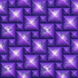 Seamless relief 3d mosaic pattern of weathered pyramidal shapes. Purple and white scratched stone background of cubes. 3 rendering Royalty Free Stock Image