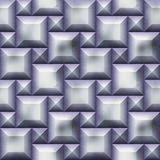 Seamless relief 3d pattern of silver squares with beveled edges and scratches Royalty Free Stock Photography