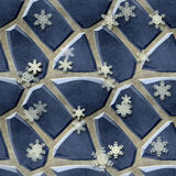 Seamless relief floor pattern of blue stones and snowflakes Royalty Free Stock Images