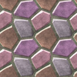 Seamless relief floor pattern of pink, purple and brown sharp stones Stock Images