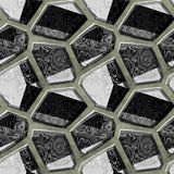 Seamless relief marbled pattern of sharp polygonal stones. Black and white background of beveled stones Stock Photo