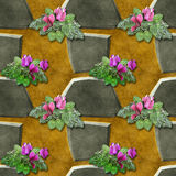 Seamless relief pattern of gray stones and pink flowers Stock Photo