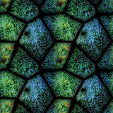 Seamless relief pattern of polygonal blue and green stones with water drops. Seamless background of green and blue stones with bubbles of water Stock Photo