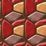 Seamless relief pavement pattern of red, beige and yellow stones Royalty Free Stock Photo