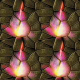 Seamless relief stone pattern with flames Royalty Free Stock Images