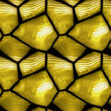 Seamless relief stone pattern with wavy structure. Gold and white pavement pattern of polygonal stones on a black background vector illustration