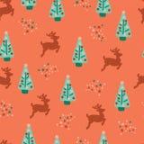 Seamless repeat Christmas trees reindeer pattern vector illustration
