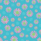 Seamless repeat cute bright daisy floral pattern with a b vector illustration