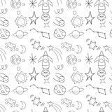 Seamless repeat pattern children`s space rocket, space, planets, stars on white background, vector illustration. Royalty Free Stock Photos
