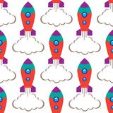 Seamless repeat pattern children`s space rocket on white background, vector illustration. royalty free stock photos