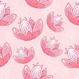 Seamless repeat pattern with flowers pastel pink on pink background. doodle Hand drawn fabric, gift wrap, wall art vector illustration
