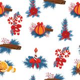 Seamless repeat pattern with gold foil confetti and red poinsettias on white background. royalty free illustration