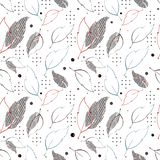 Seamless repeat pattern with leaves, stars and hexagons. Complex illustration print in red, orange, black and white. royalty free illustration