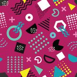Trendy Memphis style seamless pattern with playful geometric shapes on purple background vector illustration