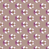 Seamless repeat pattern of pansies on lilac. Seamless repeat pattern of delicate painterly look pansies on lilac background Stock Photo
