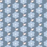 Seamless repeat pattern of stylized blue flowers and leaves in a geometric pattern. A pretty floral vector design. stock illustration