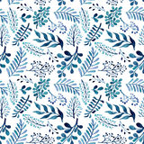 Seamless Repeat Pattern With Watercolor Blue And Green Leaves and Berries Royalty Free Stock Photography
