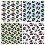 4 seamless repeat patterns of vinyl records. stock illustration