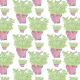 Seamless repeat vector Abstract hand draw and watercolor pot flower wallpaper pattern Stock Photography