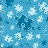 Seamless (repeatable) puzzle pieces pattern. Easy tilable (seamless, repeatable, repeat) cold blue colors pattern (print, background, wallpaper) of flying jigsaw Stock Illustration